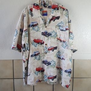 Vintage HOT AUGUST NIGHTS car themed button up